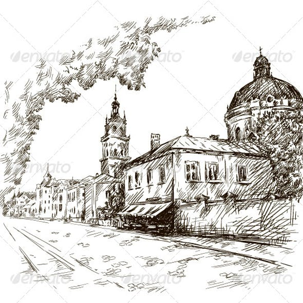 Sketch of a Street. Old City
