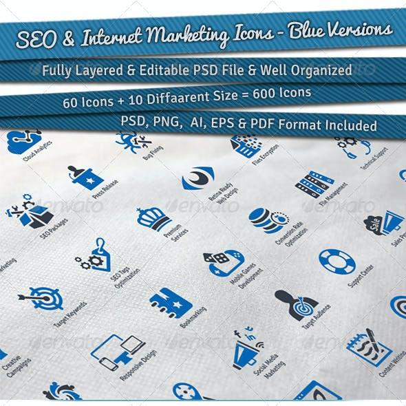 SEO & Internet Marketing Icons | Blue Versions