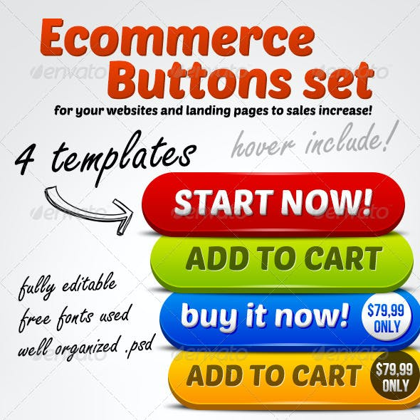 Ecommerce Big Buttons Set