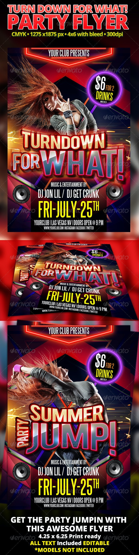 Turn Down For What! Party Flyer - Clubs & Parties Events