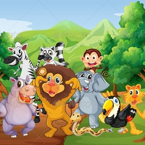 Group of animals in the jungle