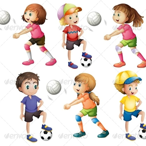 Kids playing volleyball and football