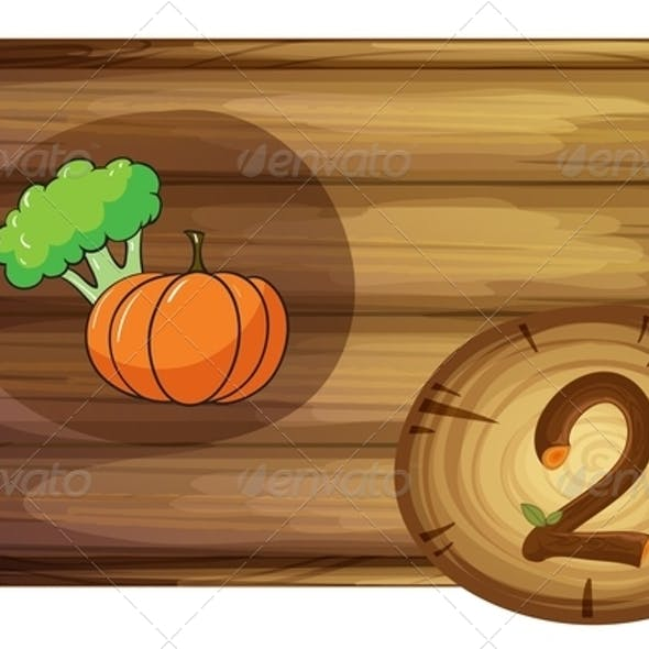 Wooden frame with two vegetables