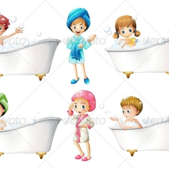 Children taking a bath
