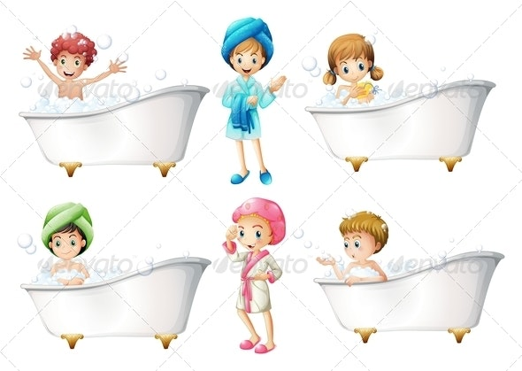 Children taking a bath - People Characters