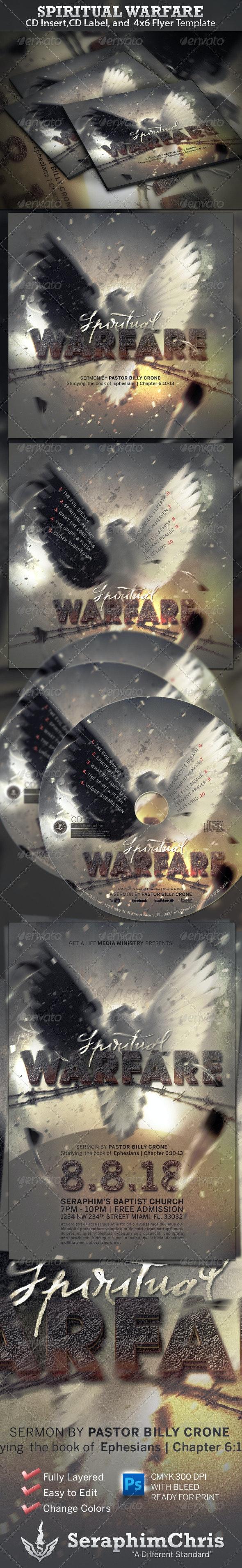 Spiritual Warfare CD Insert, CD Label , and Flyer - CD & DVD Artwork Print Templates