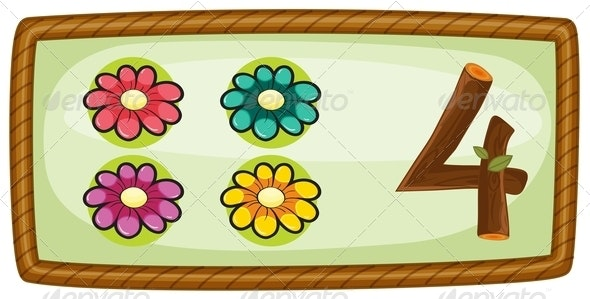 Frame with four flowers - Miscellaneous Vectors