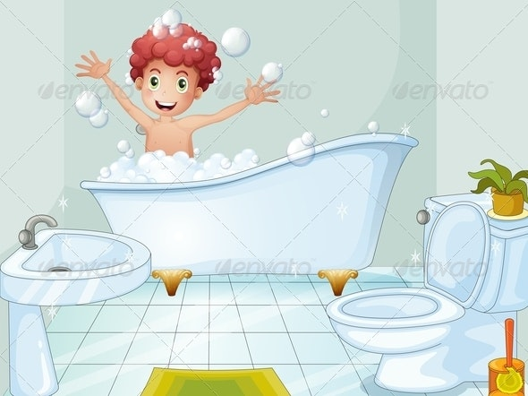 Boy taking a bath - People Characters