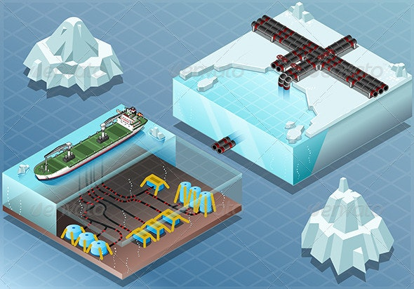 Isometric Arctic Subsea Farm and Tubes - Objects Vectors