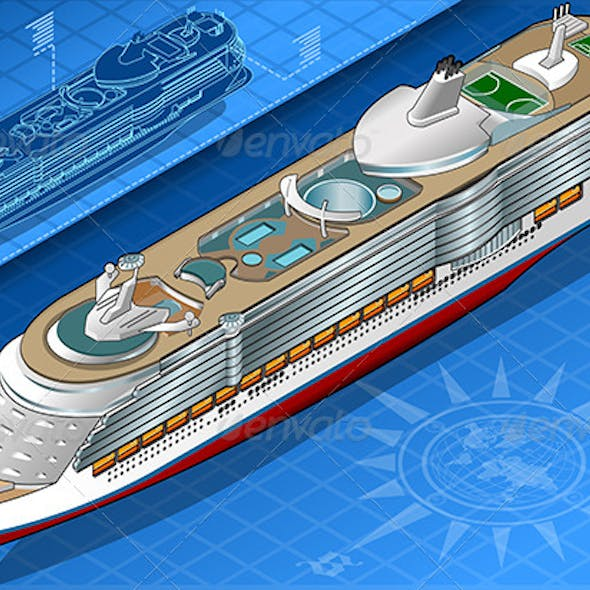 Isometric Cruise Ship in Front View