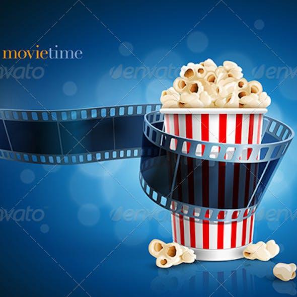 Camera Film Strip And Popcorn Box
