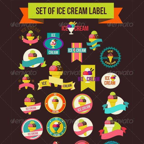 Set Of Ice Cream Label