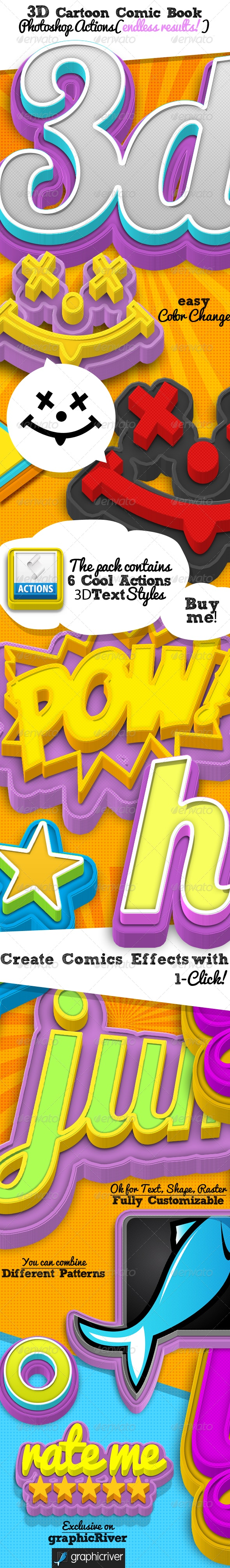 3D Cartoon Comic Book Photoshop Style - Text Effects Actions