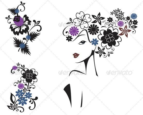 Elegant Woman In Flowers  - People Characters