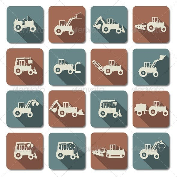 Tractor Flat Icons