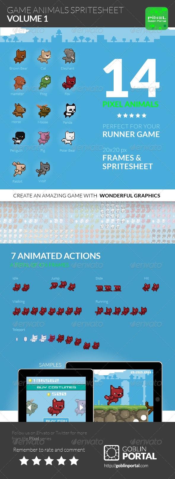 Game Animals Sprite Sheet | Volume 1 - Sprites Game Assets