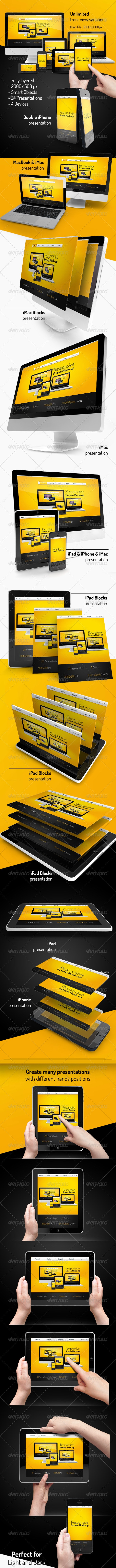 Responsive Screen Mock-up - Displays Product Mock-Ups