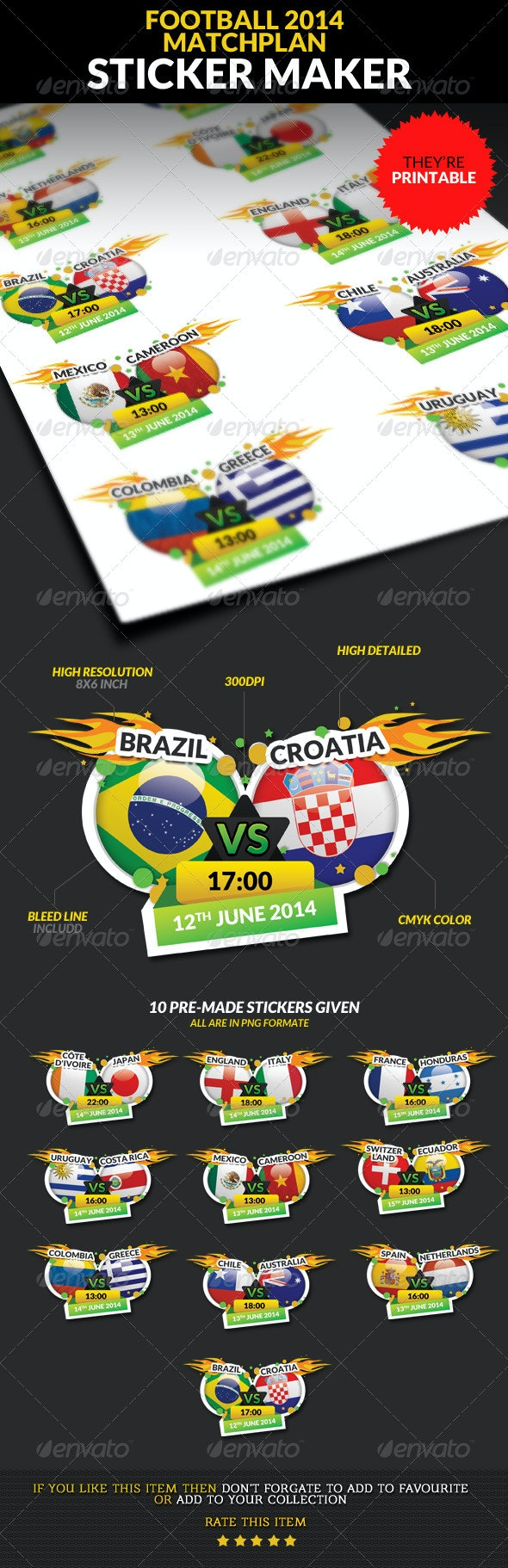 Football Championship 2014 Matchplan Sticker Maker - Badges & Stickers Web Elements