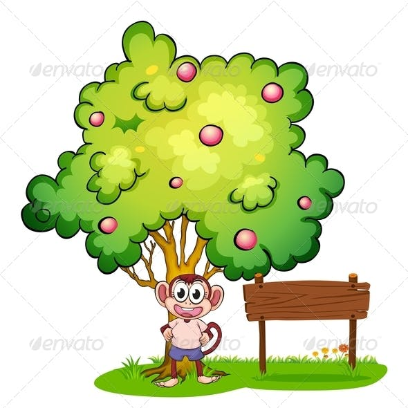 Monkey under tree with empty wooden sign