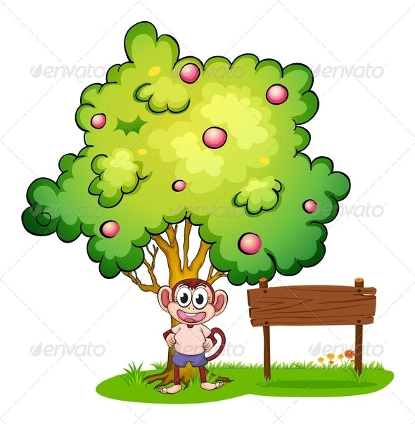 Monkey under tree with empty wooden sign - Animals Characters
