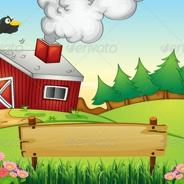 Farm with empty signboard