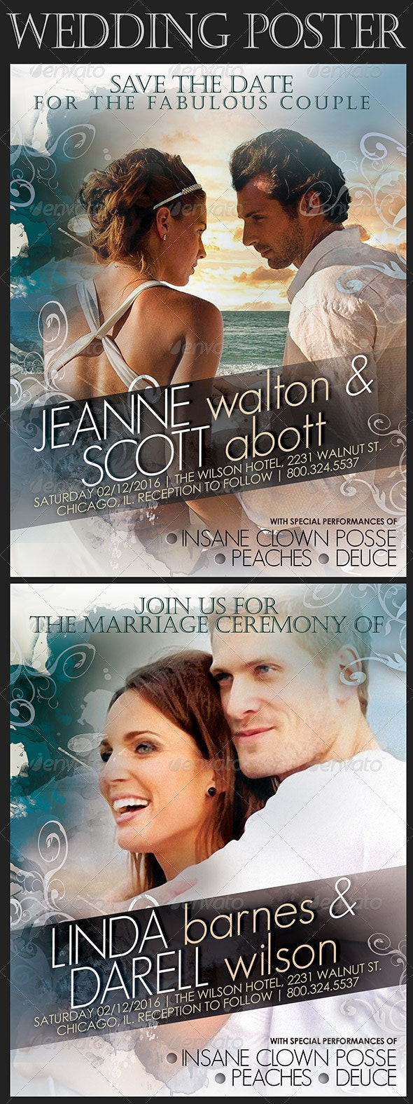 Wedding Poster in Movie Style - Flyers Print Templates