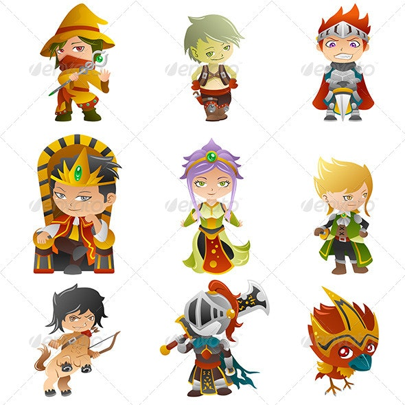 Fantasy Avatar Icons - Characters Vectors