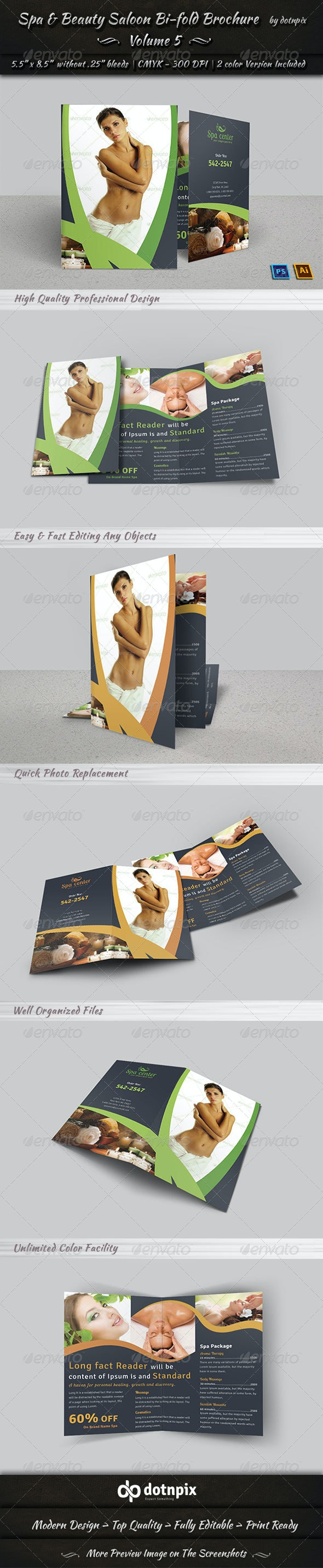 Spa & Beauty Saloon Bi-fold Brochure     Volume 5 - Corporate Brochures