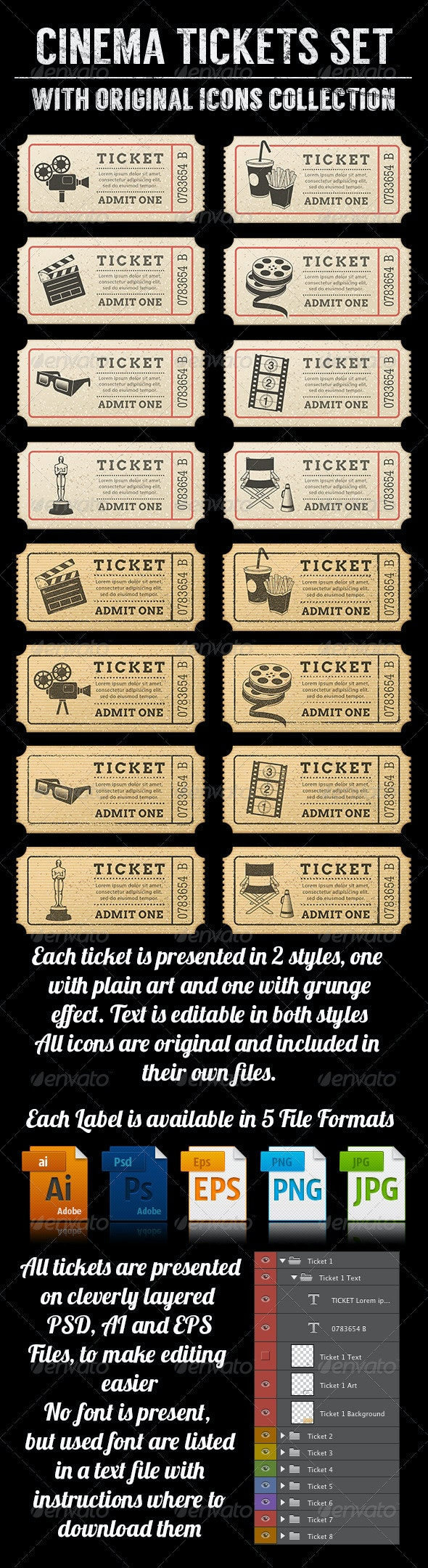Cinema Tickets Templates - Objects Vectors