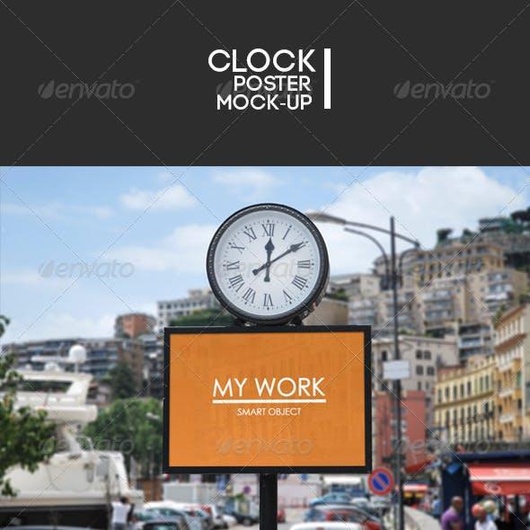 Street clock poster Mock-Up