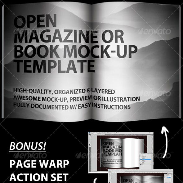 Open Magazine or Book Template