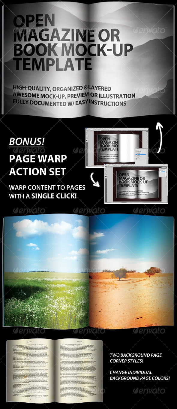 Open Magazine or Book Template - Magazines Print Templates