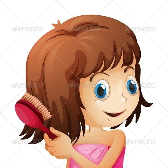Girl combing hair