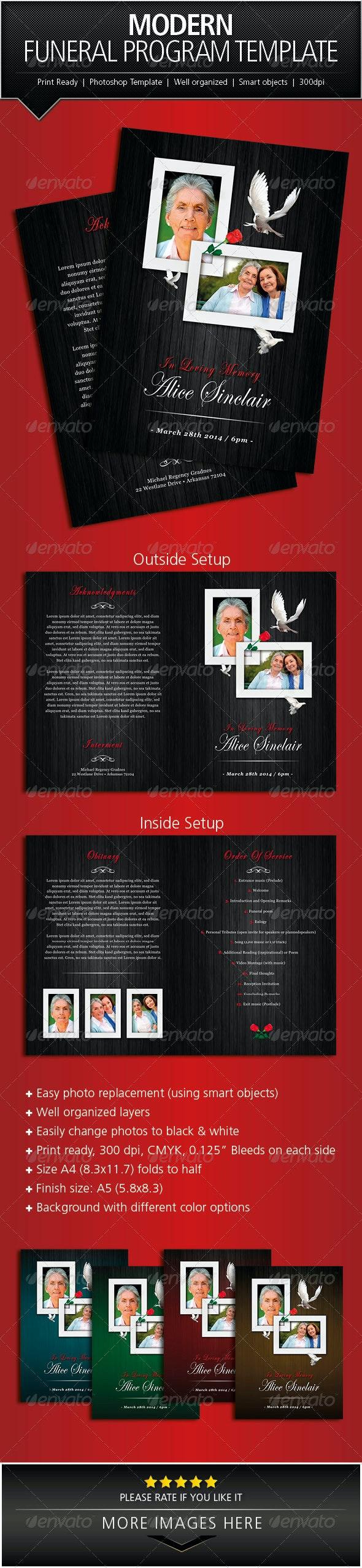 Modern Funeral Program Brochure Template - Informational Brochures