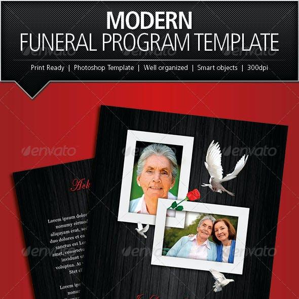 Modern Funeral Program Brochure Template