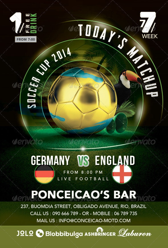 Flyer Soccer Cup Match Of The Day In Brazil Bar - Events Flyers