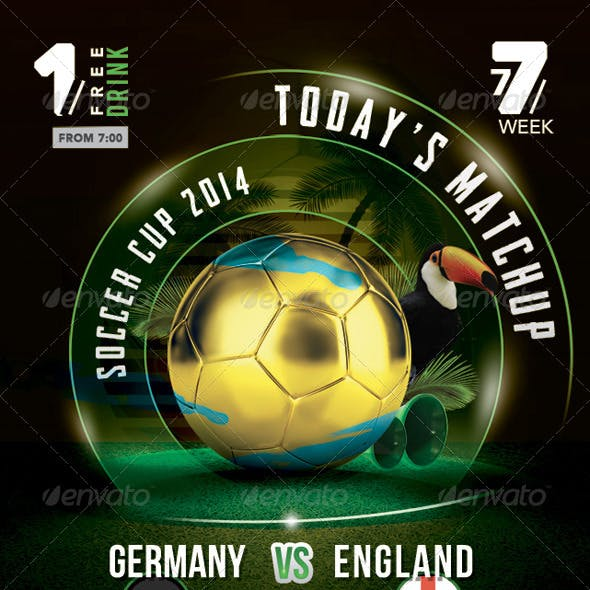 Flyer Soccer Cup Match Of The Day In Brazil Bar