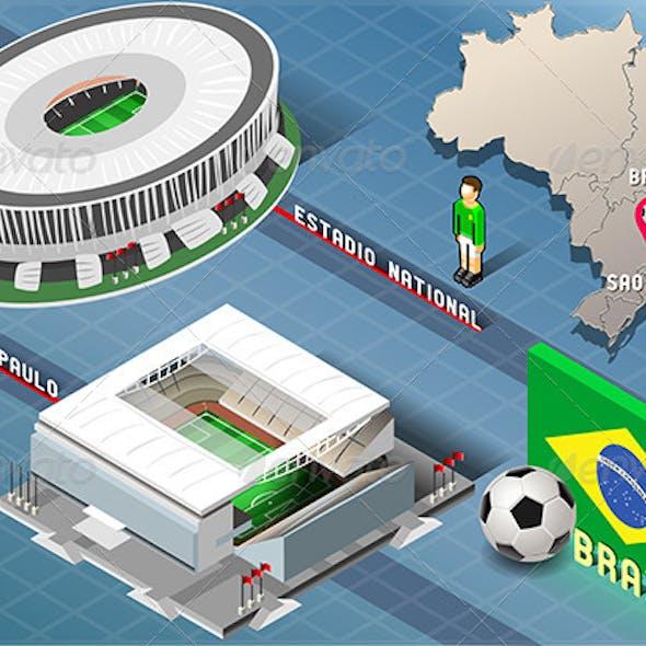Isometric Stadium of Brasilia and Sao Paulo