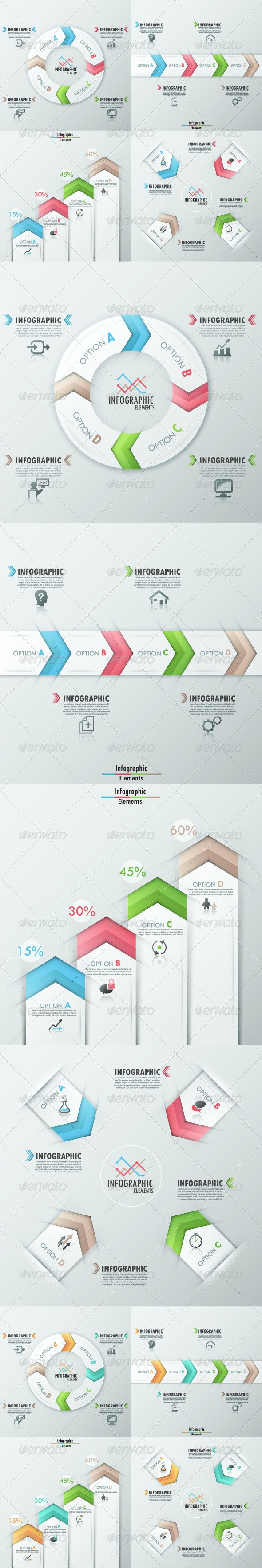Set of 4 Modern Infographic Templates - Infographics