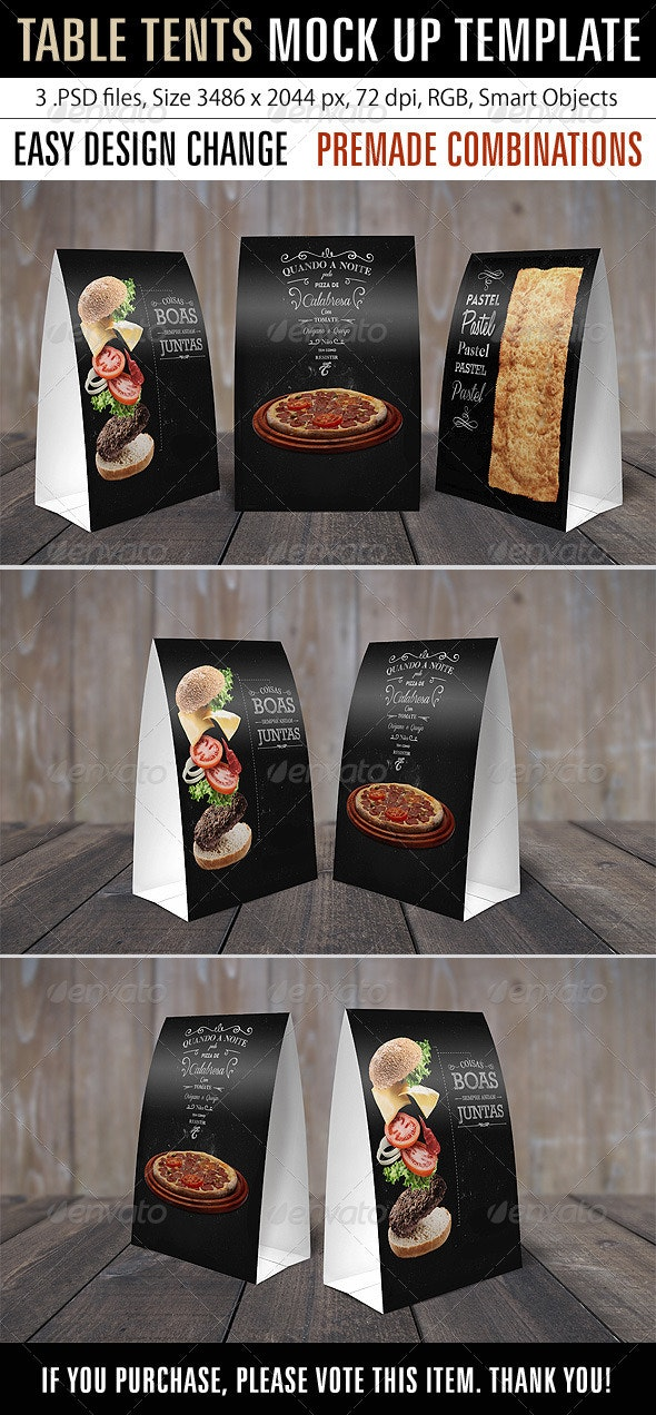 Table Tents Mock Up Template - Miscellaneous Print