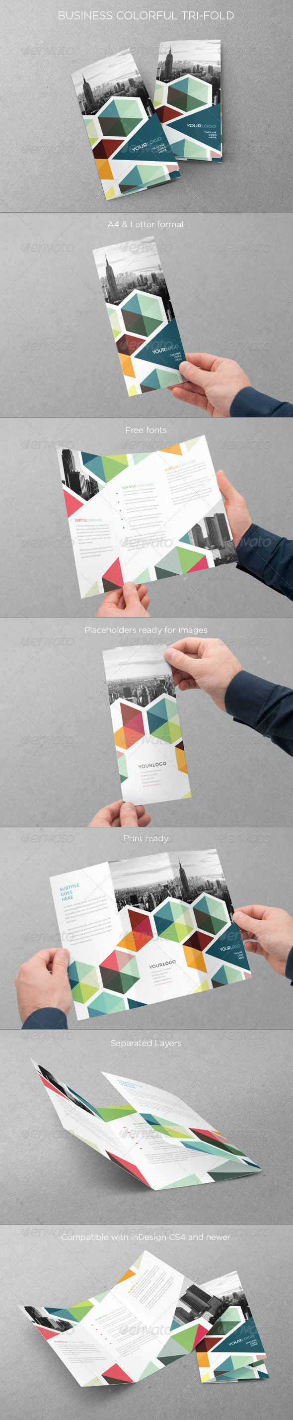Business Colorful Trifold - Brochures Print Templates