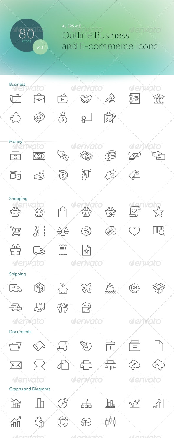 Outline Business and E-commerse Icons - Business Icons