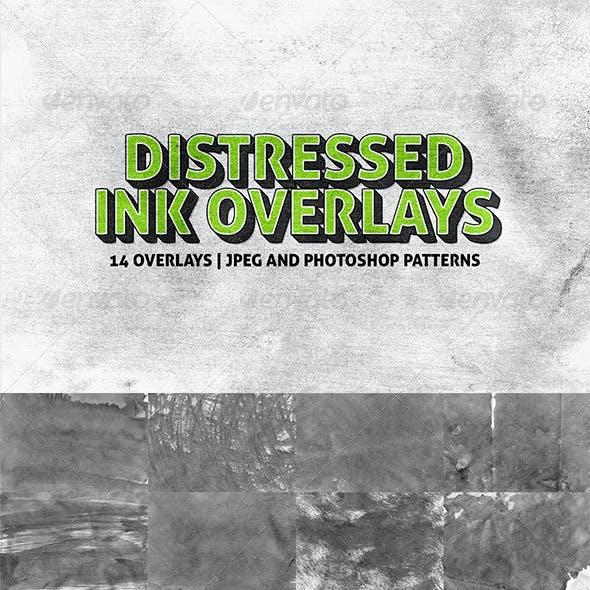 14 Distressed Ink Overlays