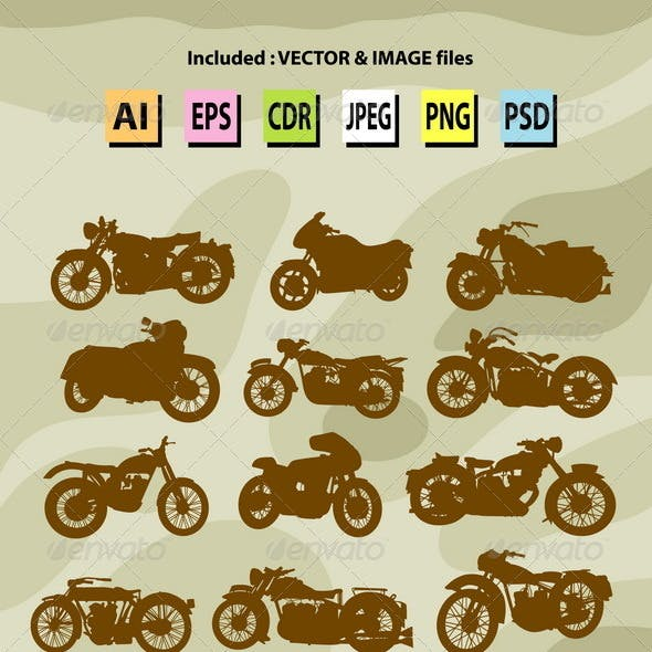 Classic Motorcycle Silhouettes