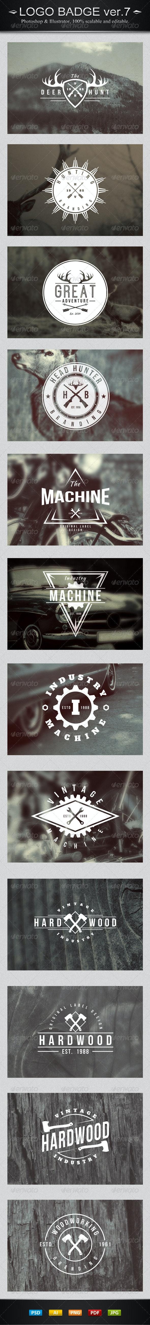 12 Vintage Logo Badges Ver.7 - Badges & Stickers Web Elements