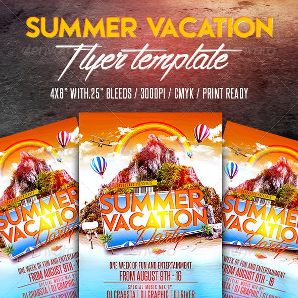 Summer Vacation Party Flyer Template