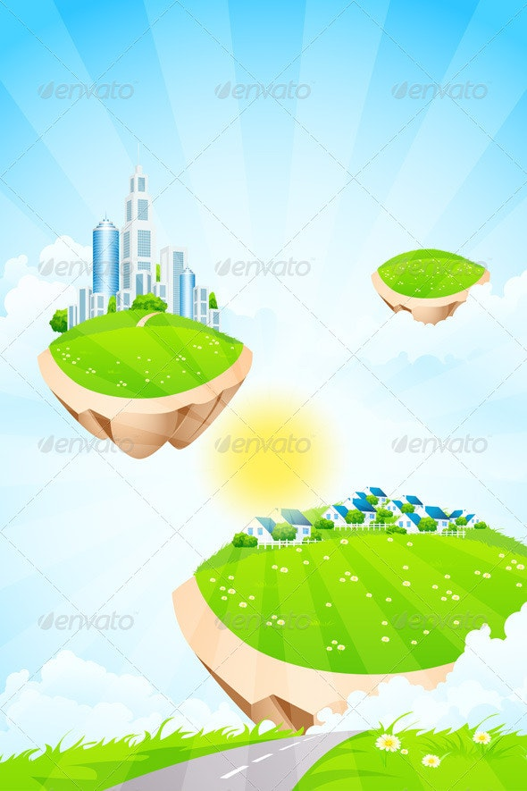 Business City on Island - Landscapes Nature