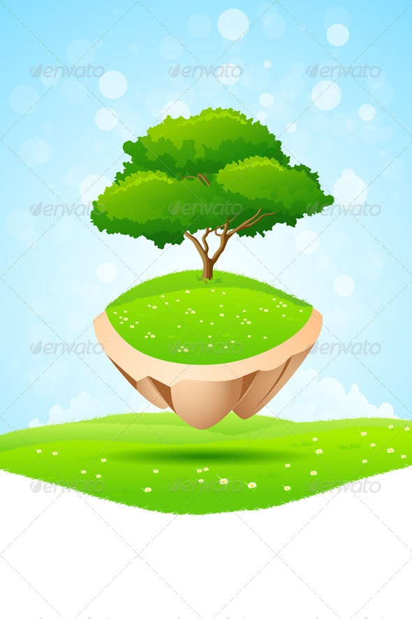 Green Tree on Island - Landscapes Nature