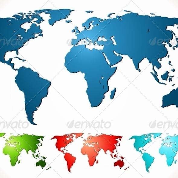 World map. PSD, EPS, AI, CDR Vector Illustration