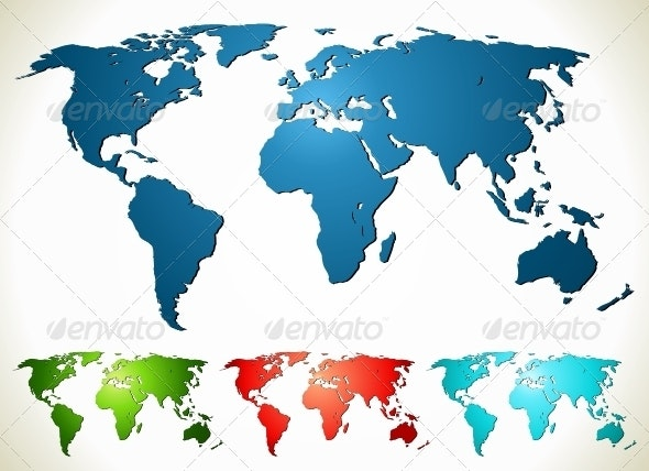 World map. PSD, EPS, AI, CDR Vector Illustration - Backgrounds Decorative